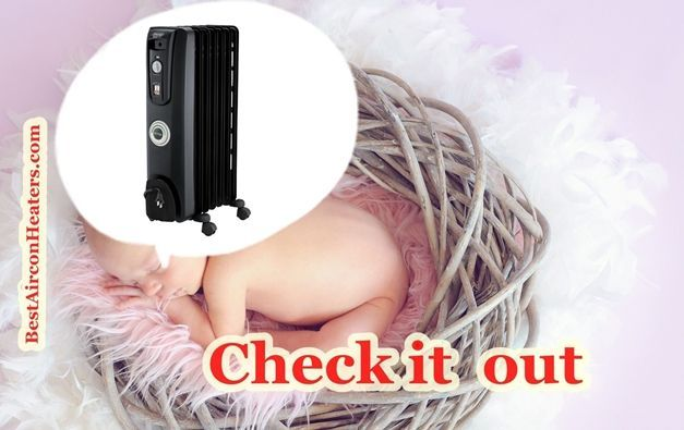 Safest space heater for nursery and baby room DeLonghi EW7707CM Safe Heat 1500W ComforTemp compressed 3